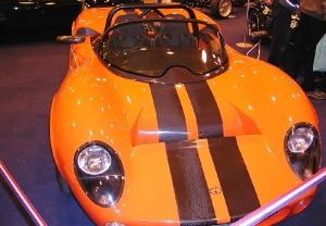 GD T70 - Gardner Douglas Sports Cars. Orange demo car at Stoneleigh