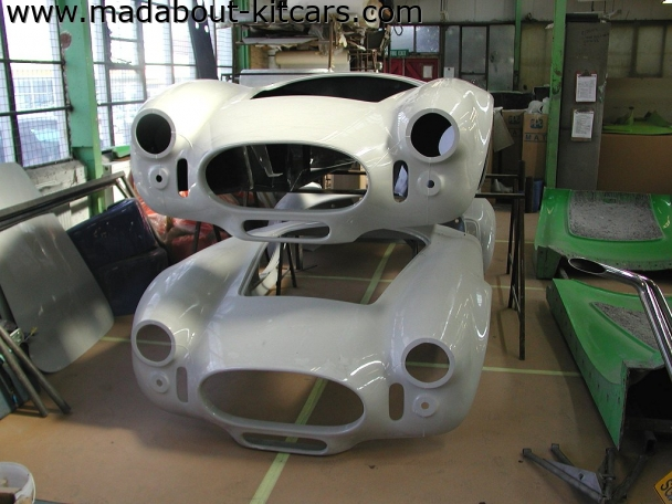 DJ sportscars - Tojeiro. Raw bodyshells at the factory